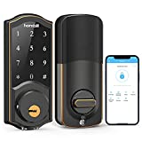 [2021 Newest] hornbill Smart Deadbolt, Keyless Entry Electronic Touchscreen Front Door Lock, Bluetooth Smart Lock WiFi Control, Passcode and Ekeys Sharing, App Monitoring Auto Lock for Home and Hotel