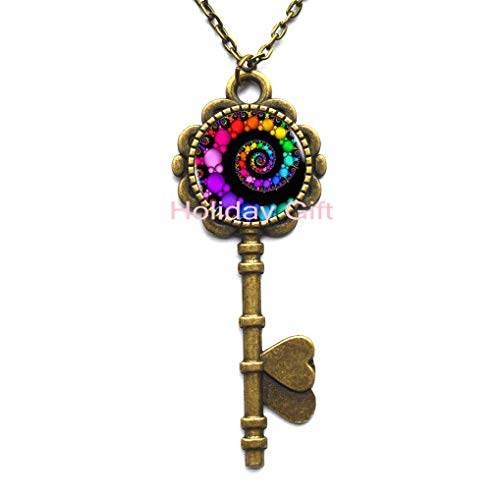 Fashion Key Necklace,Fibonacci Spiral Key Pendant Fractal Key Necklace Key Pendant Flourish Swirls Glass Dome Key Necklace Sacred Geometry Art Picture Jewelry,H031 (S2)