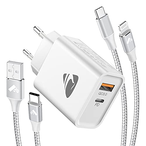 USB C Ladegerät, 20W USB C Netzteil PD 3.0 Power Adapter Ladestecker,Schnellladegerät 2-Port mit 2M USB C Lightning Kabel Ladegerät für iPhone 12 11 Pro XR XS,Typ C Ladekabel für Samsung S21 S20 S10