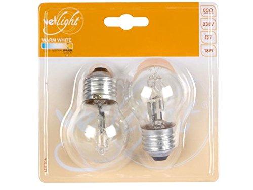 VELLEMAN - LEH1B3A Vellight Eco Halogenlampe, Klar Glas, G45 Typ, E27 Fassung, 2700 K, 18 W, 220-240 V, Warmweiß (2-er Pack) 169009