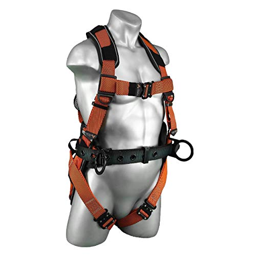 Malta Dynamics Warthog Comfort MAXX Fall Protection Safety Harness with Removable Belt, Side D-Rings and Additional Padding – OSHA/ANSI/CSA Compliant, Orange (Small-Medium)