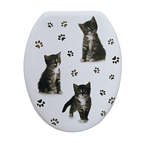 Spirella WC Deckel MDF mit Absenkautomatik Katze mit High Gloss Finish und Schnellbefstigung Scharniere aus Edelstahl