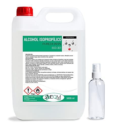 Ecosoluciones Químicas ECO-301 | 5 L | Alcohol Isopropílico 99,9% Puro | Limpieza componentes electrónicos, Objetivos, Pantallas. Desinfección y Limpieza Superficies. Incluye PULVERIZADOR 75 ML