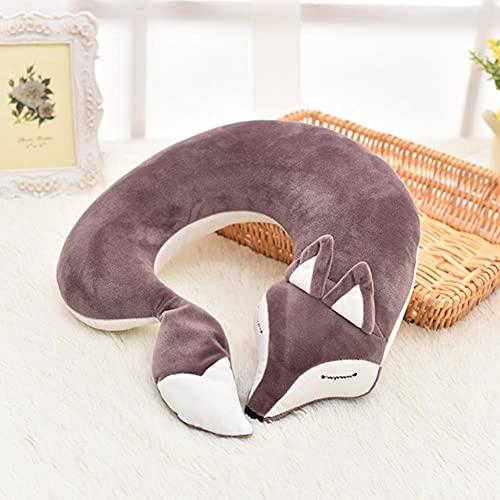 UKKD Cojín de Esponja con Memoria U-Shaped Animal Pillows Comfortable Travel Car Headrest Neck Protect Cartoon Cats Soft Cushion Dolls Gift Children