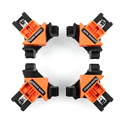 QWORK Winkel Klemme , Eckenspanner 90 Grad , Winkelspanner , verstellbarer Winkel , Befestigungsclips für Schweißen , Schrank , Möbelverbindung , Fotorahmen , 4 Stück