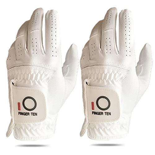 Golf Gloves Men Left Hand Rain Hot Wet Grip Value 2 Pack, Black White All Weather Fit for Right Handed Golfer, in Size Small Medium ML Large XL (White, Large, Left)