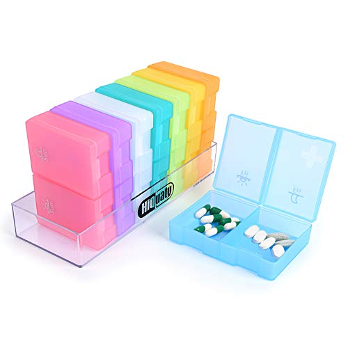 Large Pill Organizer, 7 Day Weekly Pill Box (2 Times a Day) BPA Free Travel Case to Hold Vitamins,Pills,Fish Oil, Supplements and Medication