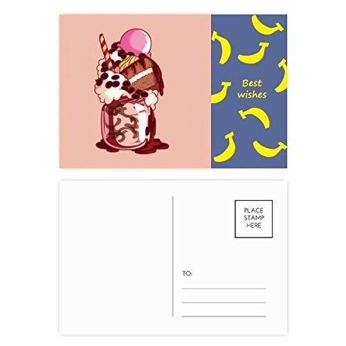 Cake Biscuit Crème Chocolade Ijs Banaan Ansichtkaart Set Thanks Card Mailing Zijkant 20 stks