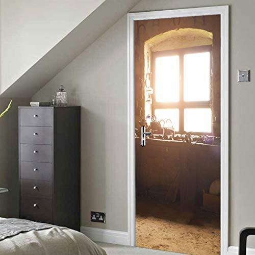 Qt XingMU 3D-deursticker, gerenoveerd, oude vensterbank, zelfklevende klep, sticker, kinderkamer, deur sticker, voor de kinderkamer