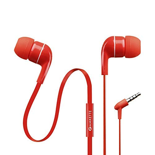 Amkette Trubeats Atom X-10 in Ear Earphones with Mic (Red)