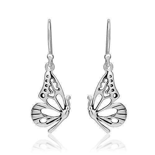 SUVANI 925 Sterling Silver Open Half Butterfly Wing Dangle Hook Earrings