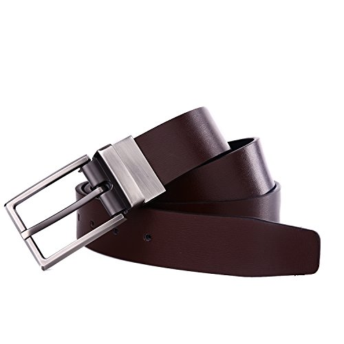 Beltox Fine Men's Dress Belt Leather Reversible 1.25″ Wide Rotated Buckle Gift Box … (Black/Brown,32-34) …