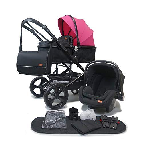Pixini Kalani Kinderwagen 3 in 1 Komplettset inkl. Babywanne & Buggy & Auto-Babyschale + Wickeltasche/Regenplane/Getränkehalter/Mückennetz in pink schwarz
