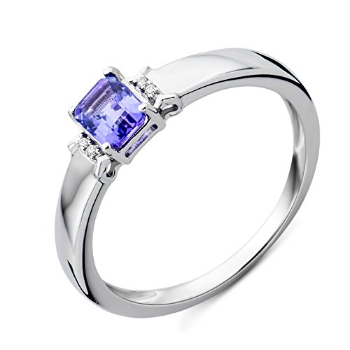 Miore Ring Damen Weißgold 9 Karat / 375 Gold Tansanit mit Diamant Brillianten
