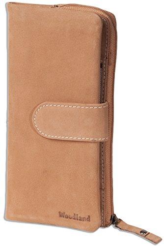 Woodland® Große Luxus Damen-Lederbörse aus naturbelassenem, weichem Büffelleder in Cognac, Braun