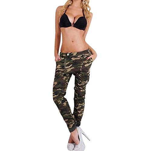VRTUR Hosen Damen Stretch Beiläufig Hose, Camouflage Skinnyhose Jeans Hose Boyfriend Damenjeans Harem Baggy Chino Haremshose Tarnen S