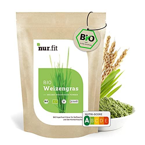 nur.fit by Nurafit Erba di grano in polvere biologica 250g - Erba di grano biologica e naturale senza additivi da coltivazione tedesca - Erba di grano per frullati vegetali, alimento crudo di qualità