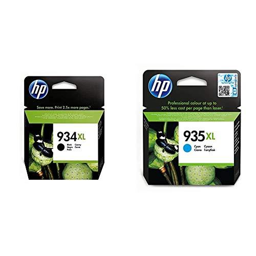 HP C2P23AE 934 Cartucho de Tinta Original de alto rendimiento, 1 unidad, negro + 935XL C2P24AE, Cian, Cartucho de Tinta de Alta Capacidad Original, compatible con impresoras de inyección de tinta