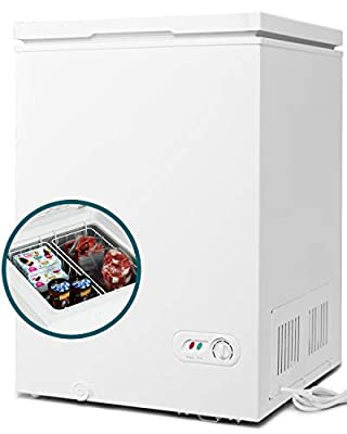 COOLHOME 3.5 Cubic Feet Chest Freezer with Removable Basket, from 6.8? to -4? Free Standing Compact Fridge Freezer for Home/Kitchen/Office/Bar (WHITE)…