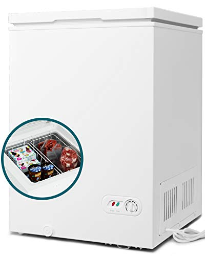 COOLHOME 3.5 Cubic Feet Chest Freezer with Removable Basket, from 6.8℉ to -4℉ Free Standing Compact Fridge Freezer for Home/Kitchen/Office/Bar (White, 3.5 Cu.ft.-normal)