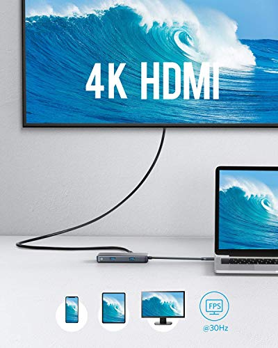 Anker USB C Hub Adapter, PowerExpand+ 7-in-1 USB C Hub, with 4K USB C to HDMI, 60W Power Delivery, 1Gbps Ethernet, 2 USB 3.0 Ports, SD and microSD Card Readers, for MacBook Pro and Other USB C Laptops