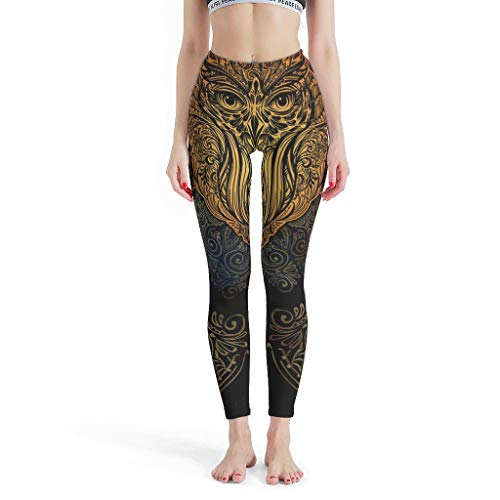 Lind88 Fashion Womens Leggings, bruin Animal Uil Mandala Ontwerp Pilates Kleding Mode Gedrukt Leggings -hippie Leggings voor Vrouwen Sport Gym In