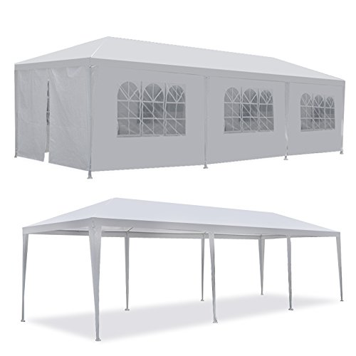 Smartxchoices 10' X 30' White Gazebo Canopy Tent Outdoor Wedding Party Camping Cater Events Pavilion Patio Tent with 8 Removable Sidewalls and Windows (10'x30')