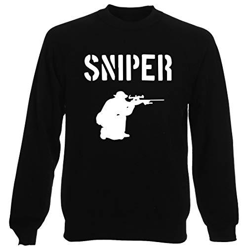 T-Shirtshock Sudadera por Hombre Negro TM0533 Sniper