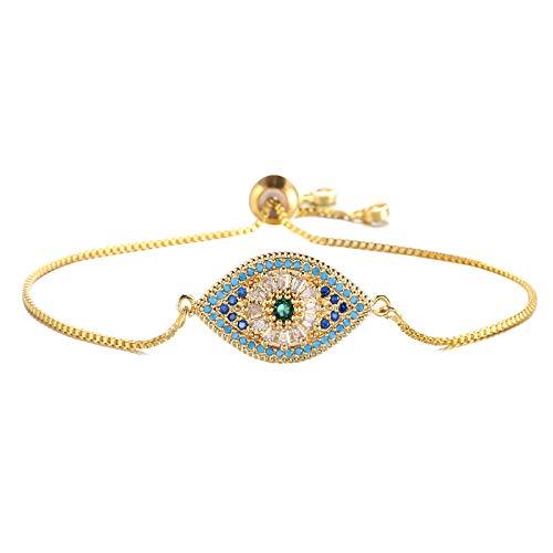 Nobrand Trendige Türkische Gold Böse Auge Armband Pave Cz Blau Auge Gold Kette Armband Verstellbare Weibliche Partei Schmuck