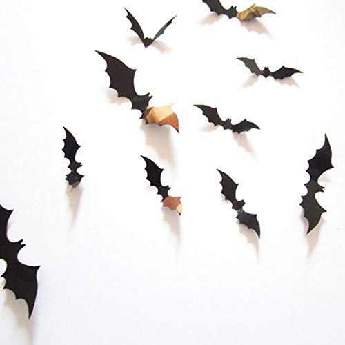 Zinniaya 12pcs Adesivo murale tridimensionale a forma di pipistrello Decorazione di Halloween