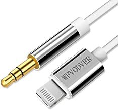 WFVODVER [MFI Certification] 4FT/1.2M iPhone Lightning to 3.5mm Audio Cable Car Aux Cord for iPhone 12/12 Pro/12 Mini/11/11 Pro/XS/XR/X 8 7/iPad, iPod to Car Stereo, Speaker, Headphones (White)
