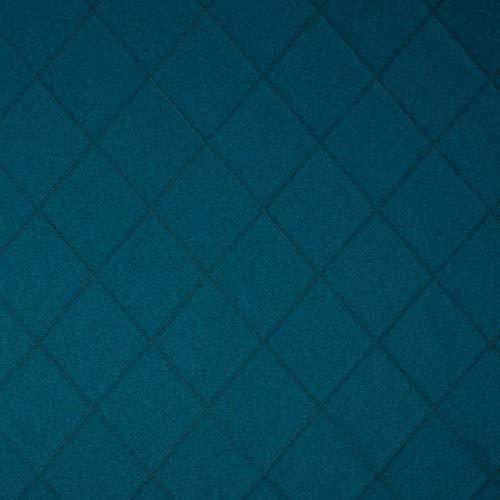 Tela para Cortina de decoración Inglesa, por Metros, difícilmente inflamable, pespunteada, Color Azul, Lana Virgen, Poliamida, absorción de Ruido, oscurecimiento, Opaca.