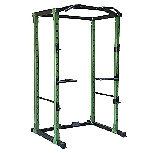 HulkFit HFPC-GR 1,000 Pound Capacity Adjustable Power Cage with 2 Safety Bars and Dip Bars & Customizable Add Ons, Cage Only, Green