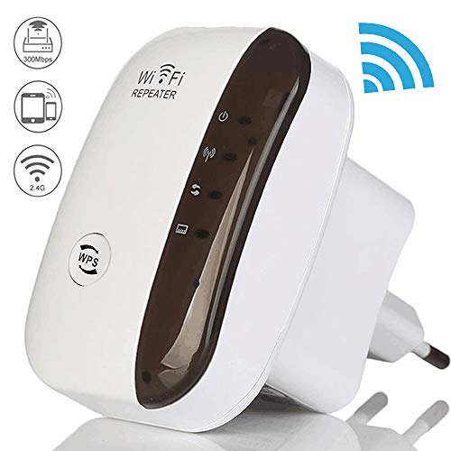 Wlan Repeater, Wlan Amplifier Wireless Network Signal Extender Amplifier 300 Mbit/s, Wifi Signal Amplifier with Wps Button/Ap Mode/Eu Plug,compatible with Most Wlan Devices (Size : EU)