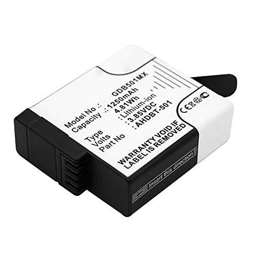 CELLONIC®Batterij compatibel met GoPro Hero 5, 5 Black, Hero 6 Black (601-10197-00, AABAT-001, AABAT-001-AS, ASST1, CHDHX-501) Hero 7 Black, 7 White, 025416, 421850, AHDBT-501, GOP004, IEC 62133, IS 16046, R-41047830 1250mAh Vervangende Accu Battery