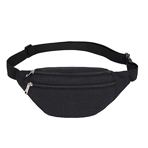 YUNGHE Fanny Pack for Men & Women - Waterproof Waist Bag Pack with Adjustable Strap for Travel Sports Running.(Black-01)
