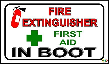 Eerste hulp & brand brandblusser in Boot Sticker Taxi Bus waarschuwing Stickers Labels, Zelfklevende Vinyl, 150Mm X 87Mm