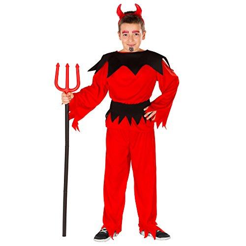 dressforfun Costume da Diavoletto bambino | Travestimento da parte superiore e pantaloni | inlc. Cerchietto con cornetti da diavoletto (12-14 anni | no. 300152)