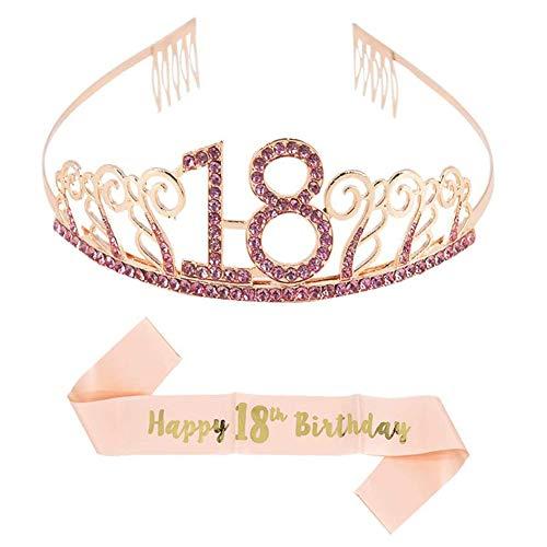 Cerchietto con corona in oro rosa per il 18 ° compleanno e fascia con bandiera di buon compleanno, fascia per il 18 ° compleanno felice per la decorazione della festa di compleanno della ragazza