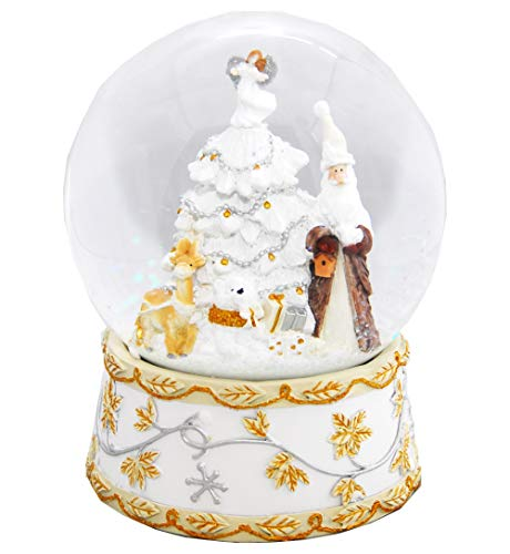MINIUM-Collection 20014j Palla di Neve Babbo Natale con Carillon Jingle Bells, Bianco, Argento Oro