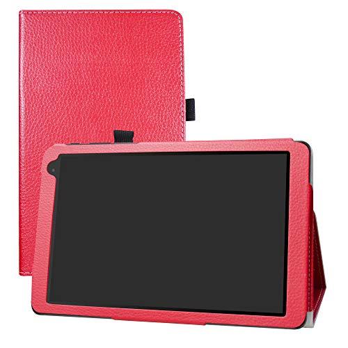 LFDZ Alcatel 1T 10inch Funda, Soporte Cuero con Slim PU Funda Caso Case para 10' Alcatel 1T 8082 10inch Tablet (No Encaja 7' Alcatel 1T 7 Inch 8068),Rojo
