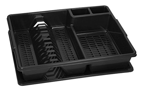 Dish Drainer with Drainer Tray Plastic Sink Plate Rack (43x35x9 cm, Black)