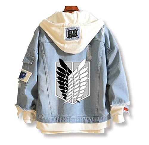YOYOSHome - Sweat à capuche en denim pour adulte - veste de cosplay, style manga «L'Attaque des Titans» - Bleu - Medium