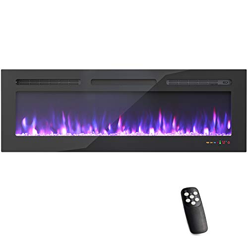 50 Inches Electric Fireplace WiFi Control Recessed and Wall Mounted with Overheating Protection,Thermostat,Timer & Remote, Log & Crystal,Touch Screen Compatible with Alexa