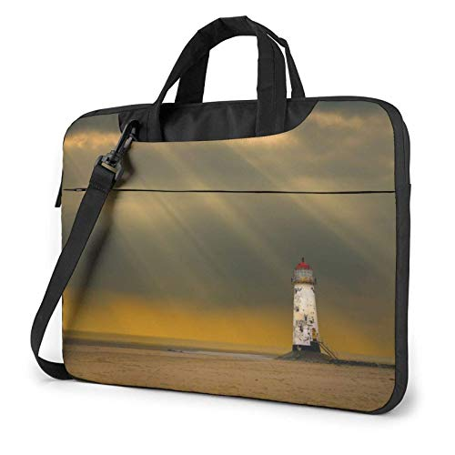 XCNGG Laptop Bag, Sunset Lighthouse Business BriefcaseBag Cover for Ultrabook, MacBook, Asus, Samsung, Sony, Notebook 15.6 inch