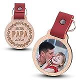 Wogenfels - Schlüsselanhänger aus Holz mit kratzfestem Foto und Gravur Bester Papa der Welt (rotes Lederband)