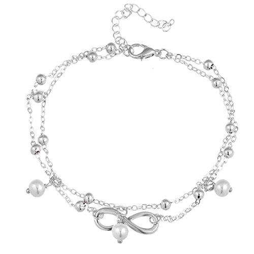 Gankmachine Infinito Símbolo Brillante Perla del pie Descalzo Tobillera Cadena de pie Mujer Pulsera de joyería Plata