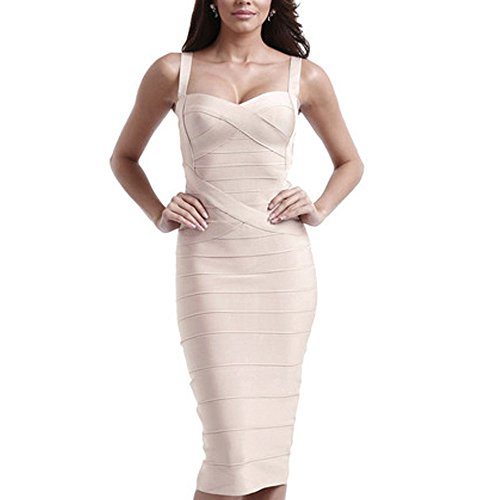 HLBandage Midi-Kleid aus Viskose, mit Spaghettiträgern, für Damen, Bandage-Kleid Gr. M, beige