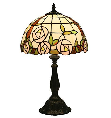 Lámpara de mesa de estilo tiffany, lámpara de escritorio de cristal de rosa pastoral de 12 pulgadas Vintage lámpara de noche lámpara de noche lámpara de noche, 19.3 pulgadas de altura, E27,Resin base