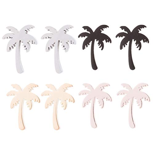 ABOOFAN 4 Pairs Coconut Tree Earrings Unique Ear Stud Delicate Earbobs Jewelry Stainless Steel Earrings Decor for Lady Girl ( Black, Gold, Silver, Rosy, 1 Pair for Each Color ) Party Supply